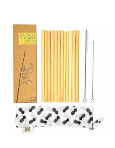 12 słomek bambusowych +...